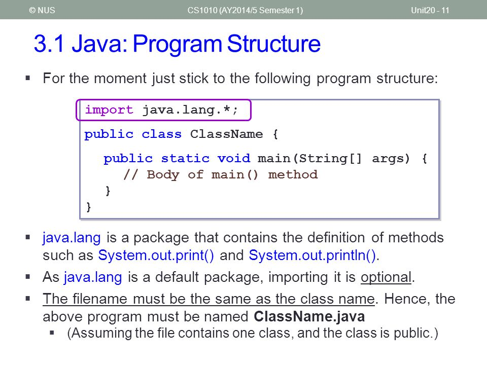 3.1 Java: Program Structure