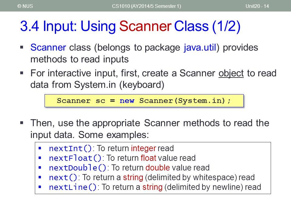 3.4 Input: Using Scanner Class (1/2)