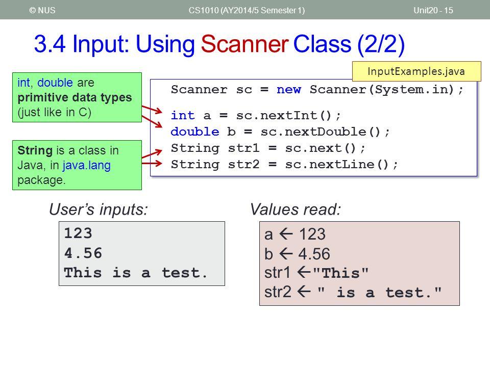 3.4 Input: Using Scanner Class (2/2)
