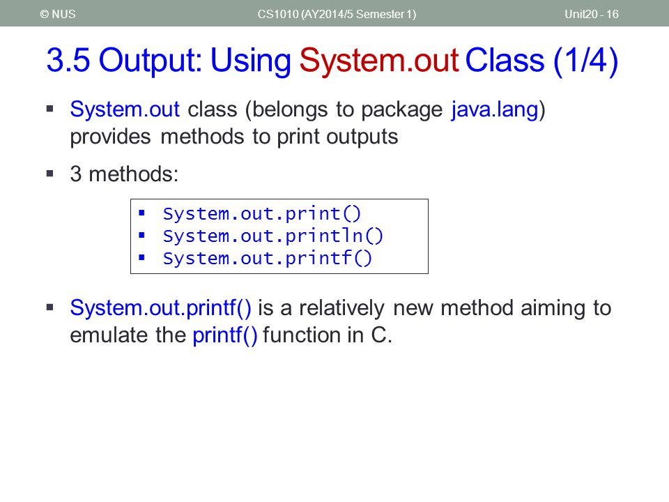 3.5 Output: Using System.out Class (1/4)