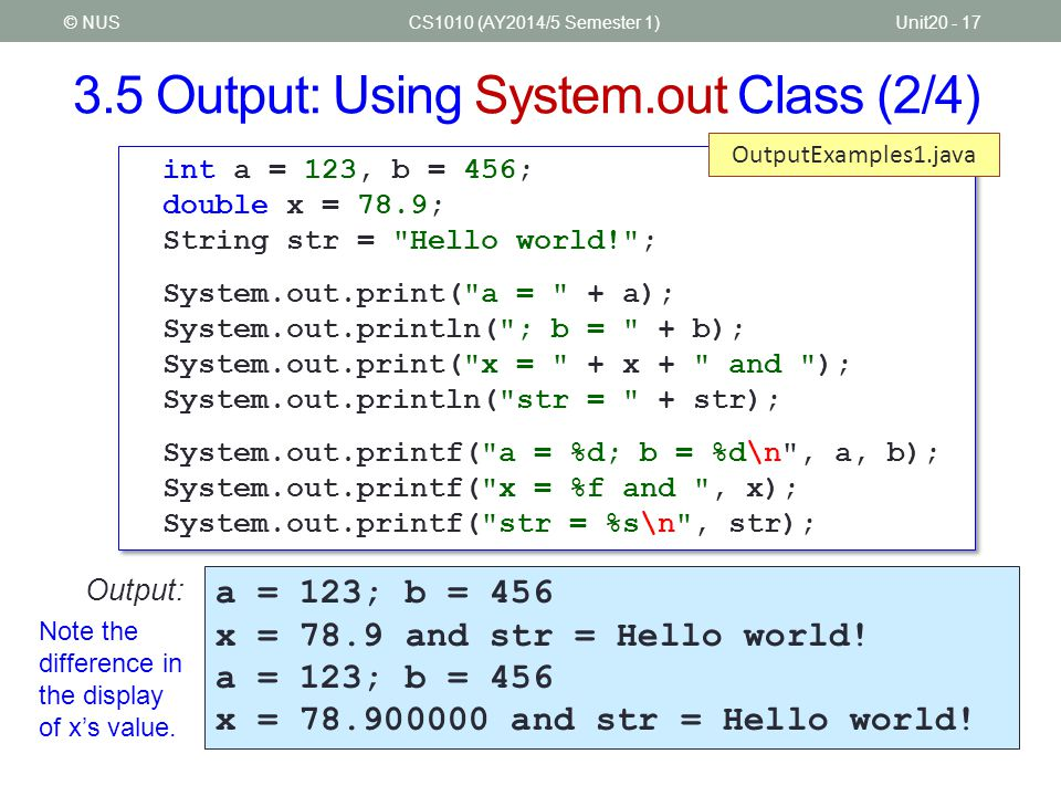 3.5 Output: Using System.out Class (2/4)