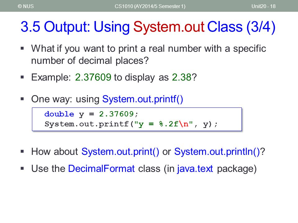 3.5 Output: Using System.out Class (3/4)