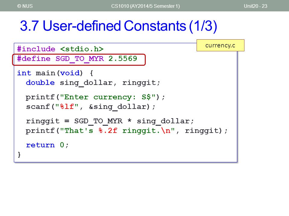 3.7 User-defined Constants (1/3)