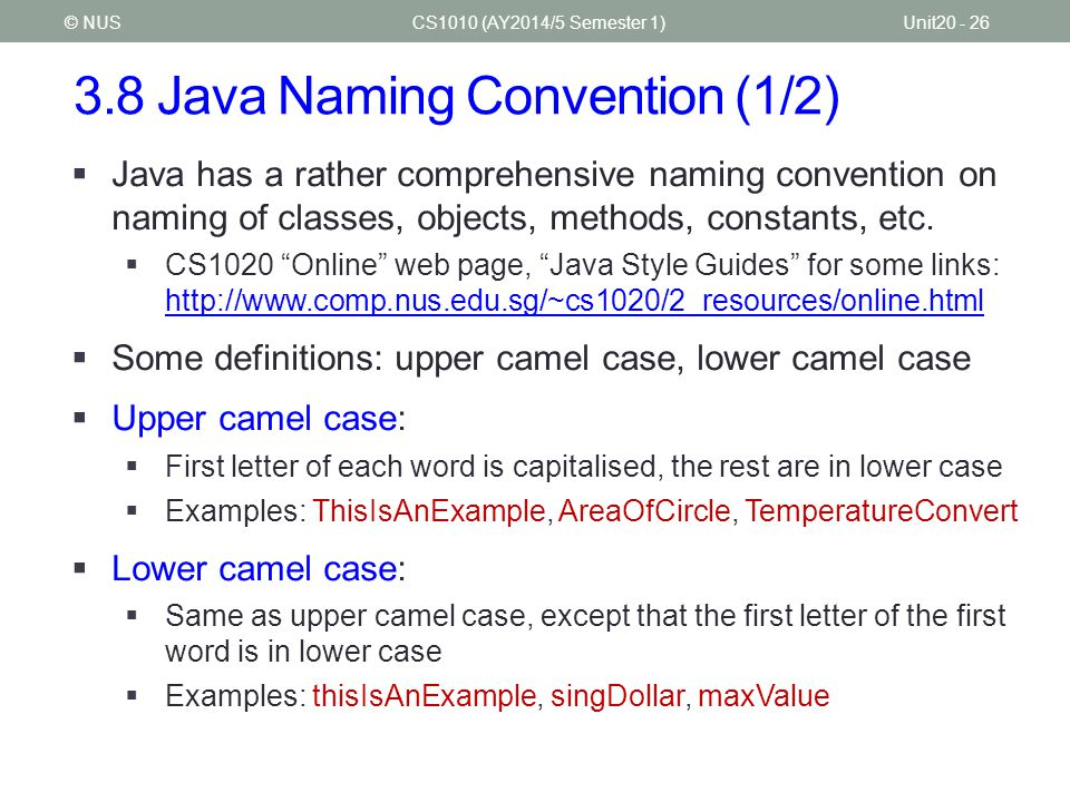 3.8 Java Naming Convention (1/2)