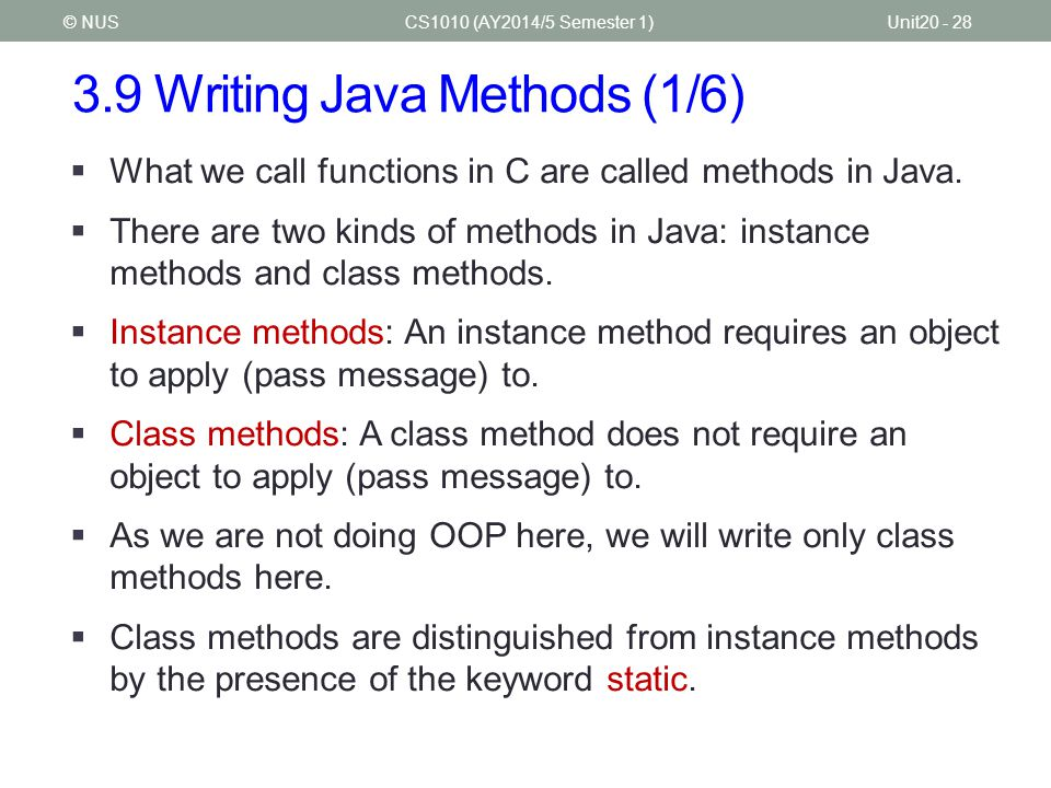 3.9 Writing Java Methods (1/6)