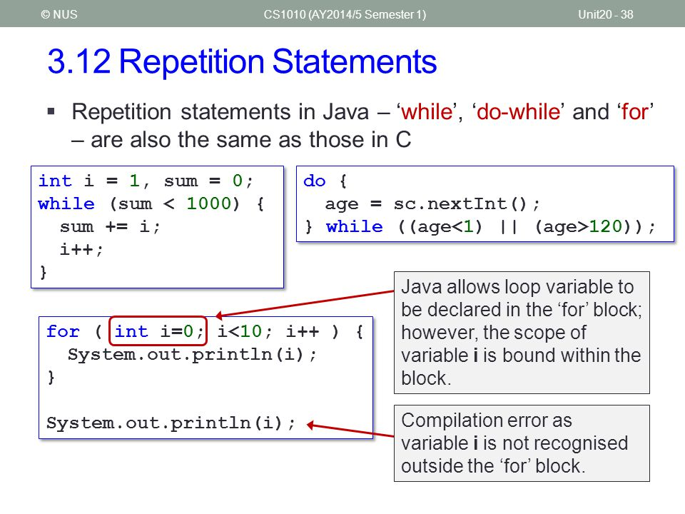3.12 Repetition Statements