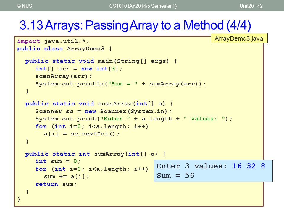 3.13 Arrays: Passing Array to a Method (4/4)