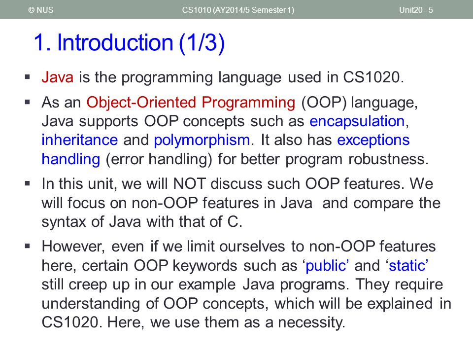 CS1010 Programming Methodology
