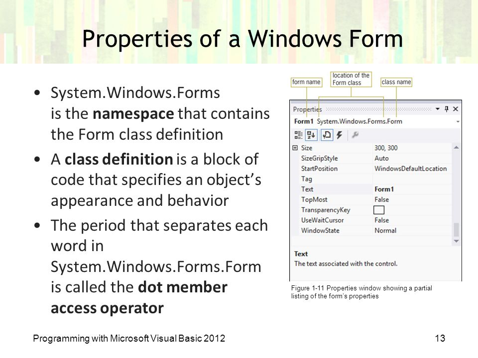 Properties of a Windows Form