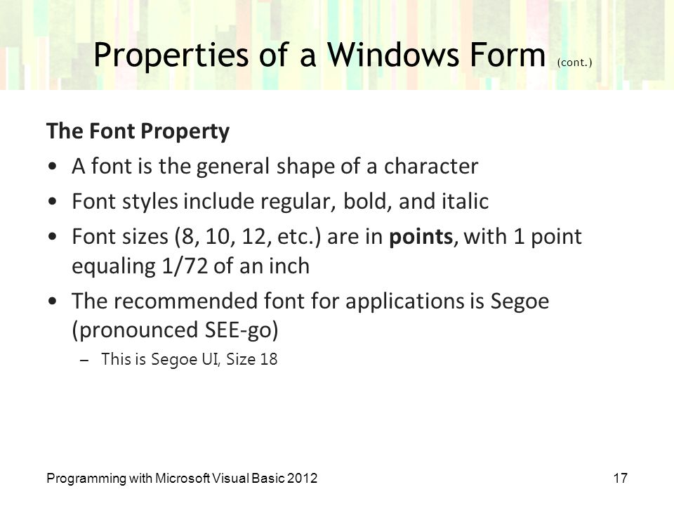 Properties of a Windows Form (cont.)