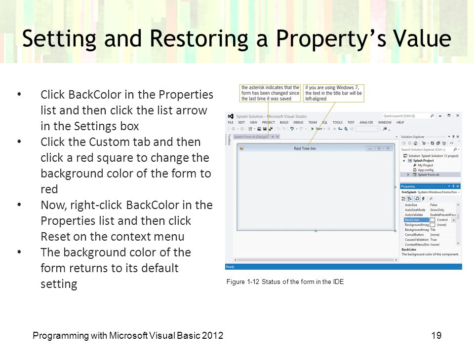 Setting and Restoring a Property's Value