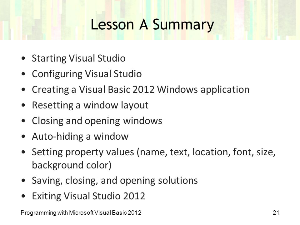 Lesson A Summary Starting Visual Studio Configuring Visual Studio