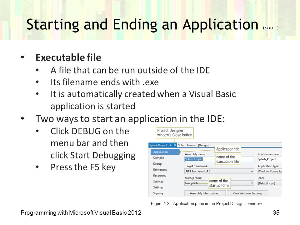 Starting and Ending an Application (cont.)