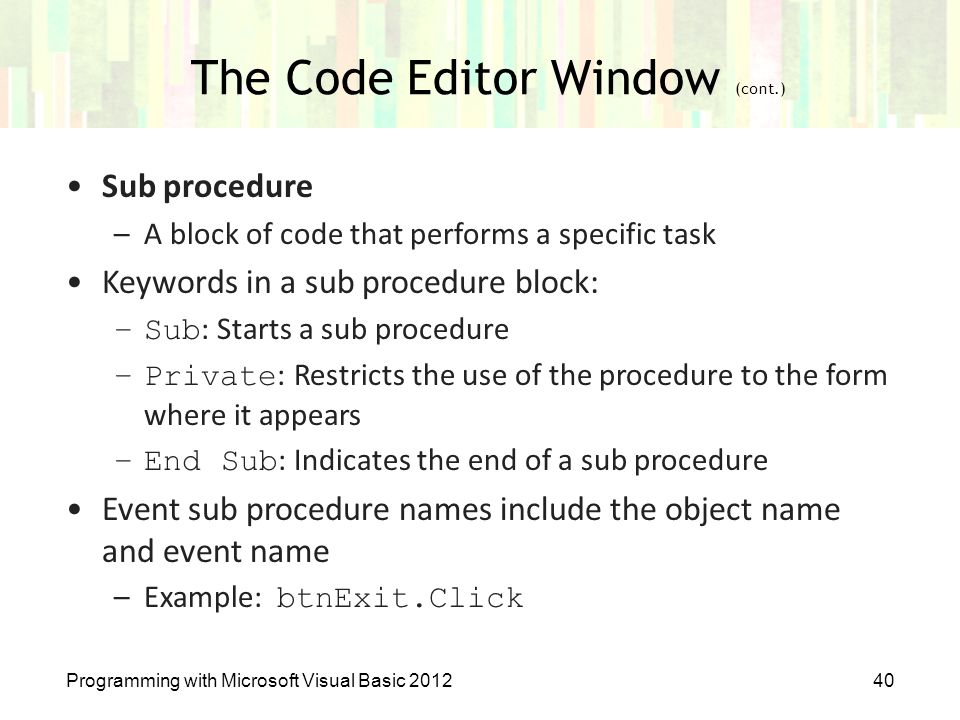 The Code Editor Window (cont.)