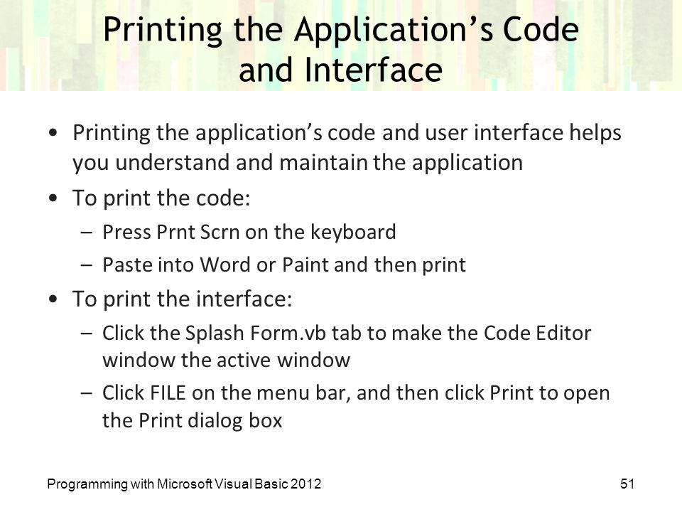 Printing the Application's Code and Interface