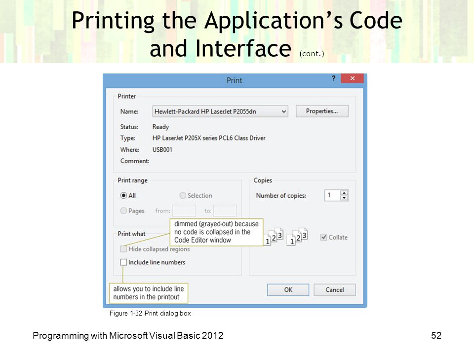 Printing the Application's Code and Interface (cont.)