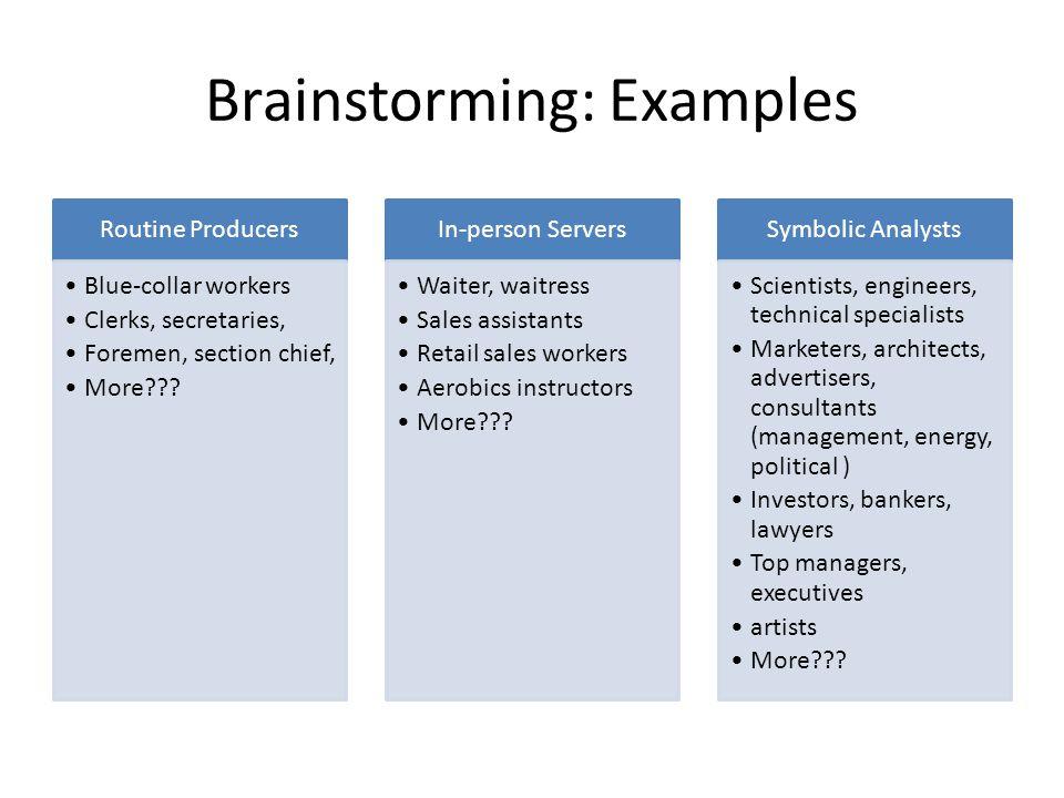 Brainstorming: Examples