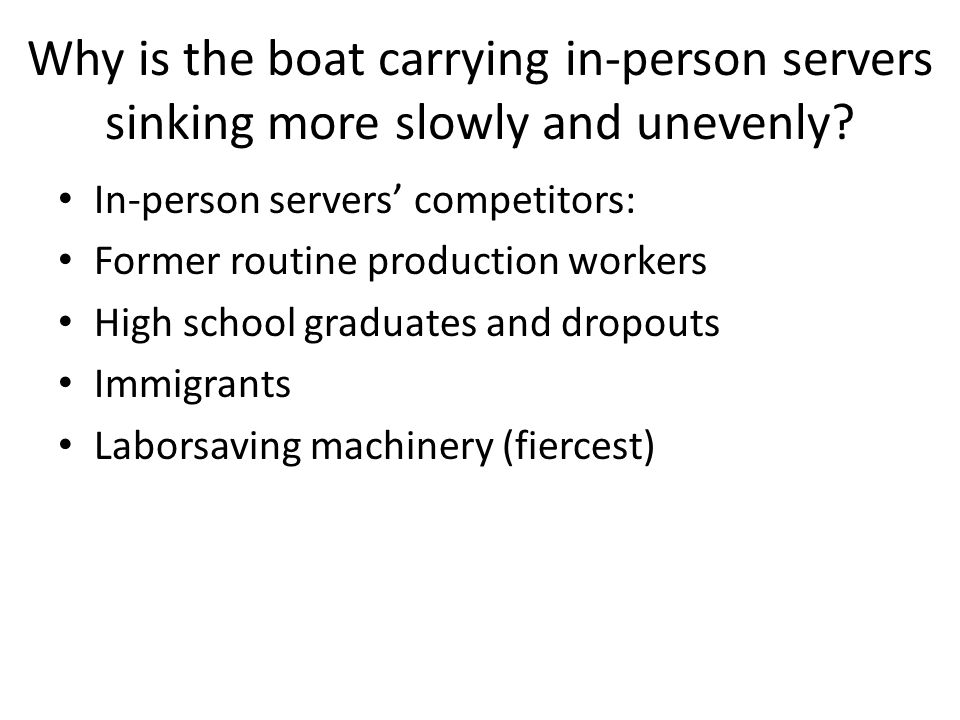 Why is the boat carrying in-person servers sinking more slowly and unevenly