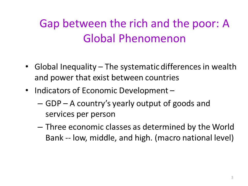Gap between the rich and the poor: A Global Phenomenon