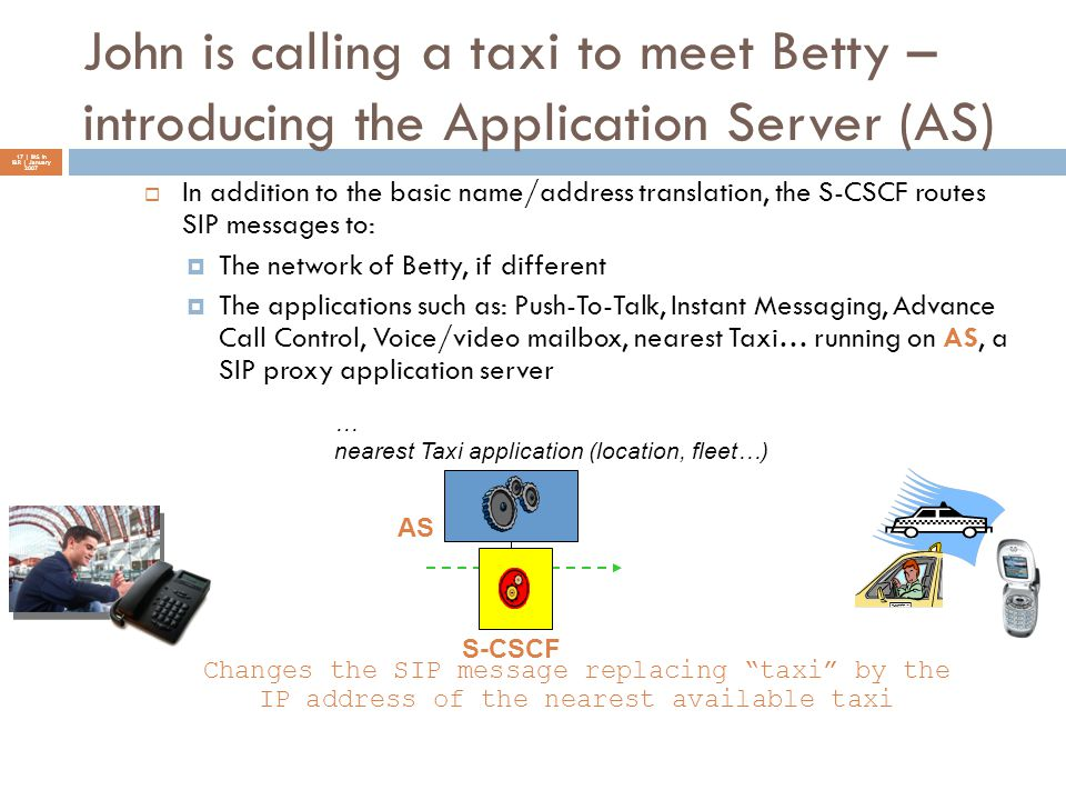 John is calling a taxi to meet Betty – introducing the Application Server (AS)