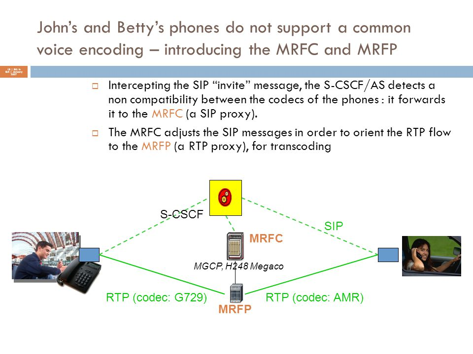 John's and Betty's phones do not support a common voice encoding – introducing the MRFC and MRFP