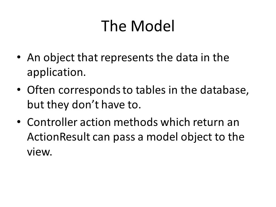 The Model An object that represents the data in the application.