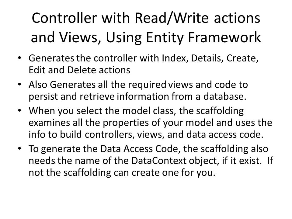 Controller with Read/Write actions and Views, Using Entity Framework