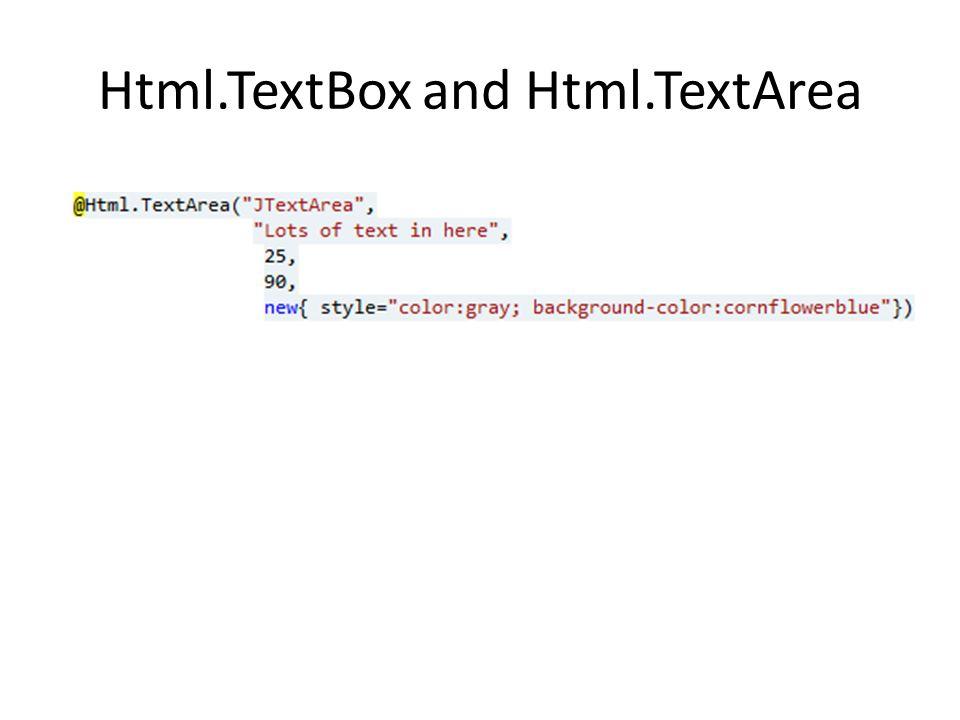 Html.TextBox and Html.TextArea