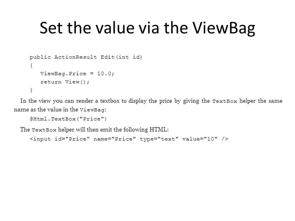 Set the value via the ViewBag
