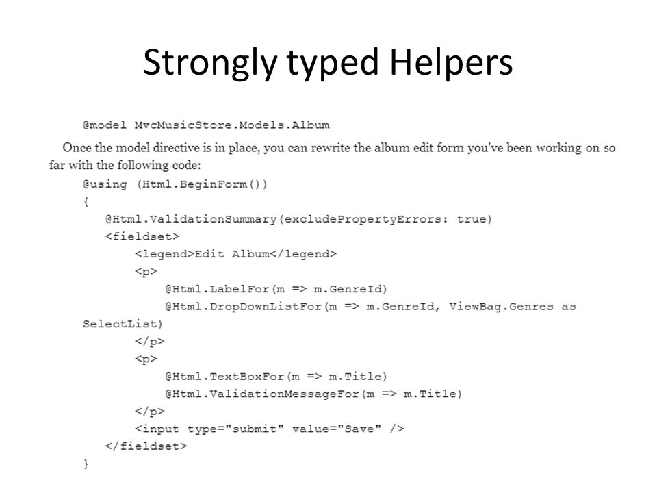Strongly typed Helpers