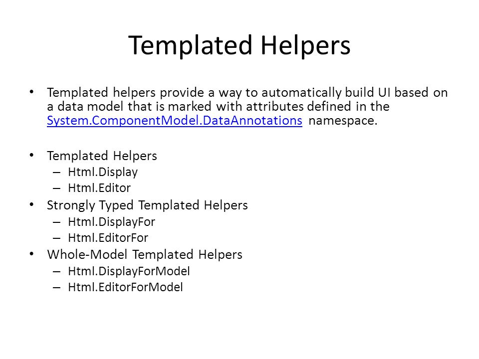Templated Helpers