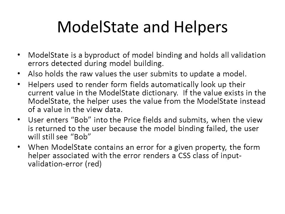 ModelState and Helpers