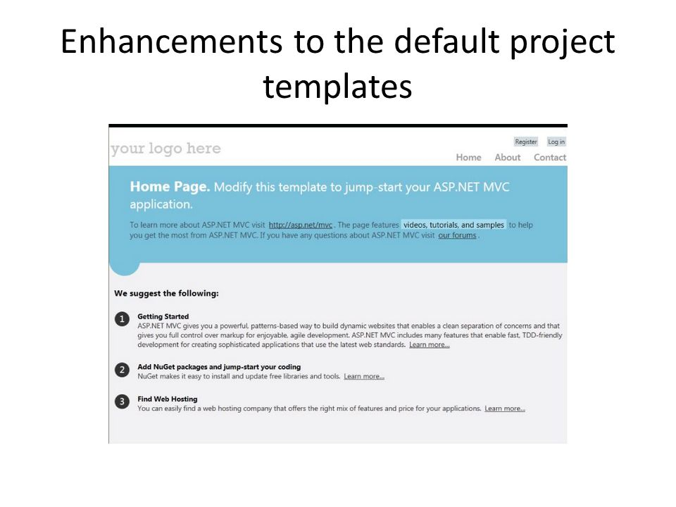 Enhancements to the default project templates