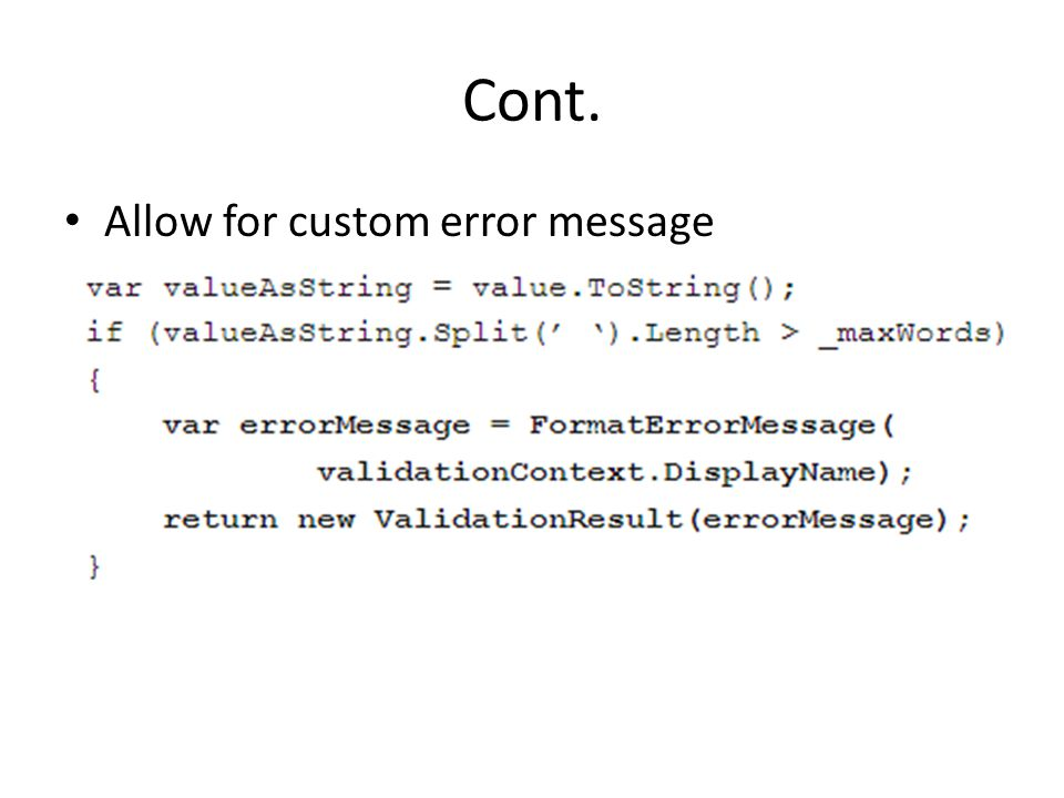 Cont. Allow for custom error message