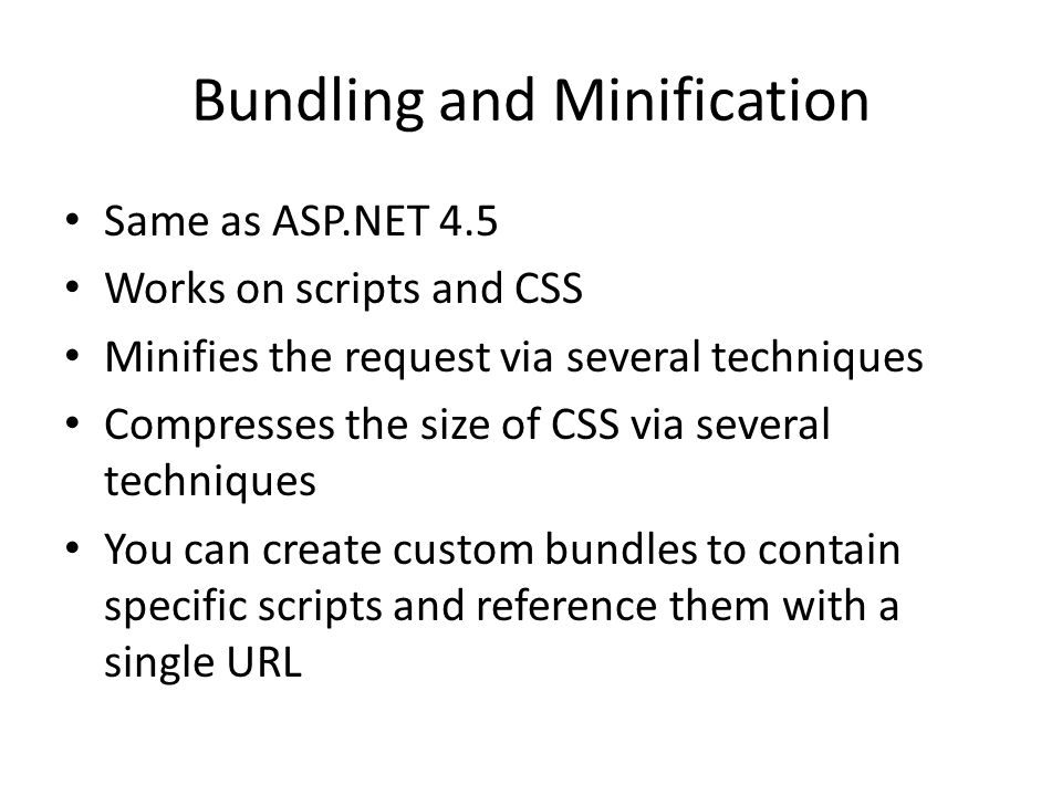 Bundling and Minification