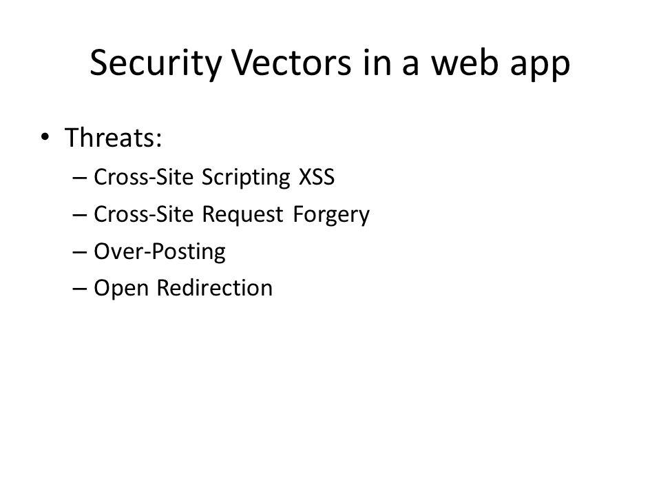Security Vectors in a web app