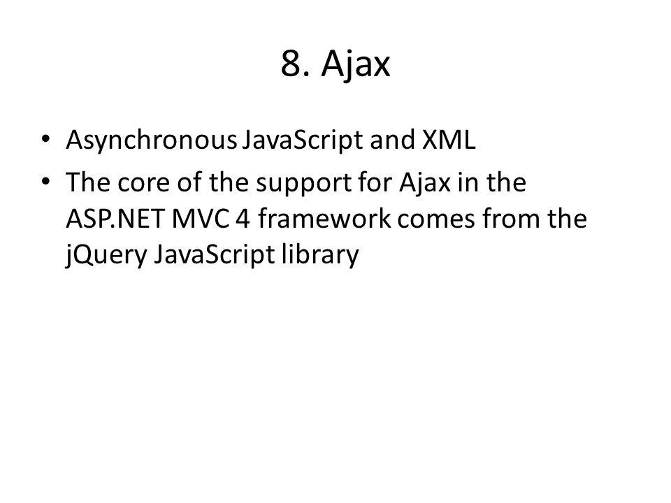 8. Ajax Asynchronous JavaScript and XML