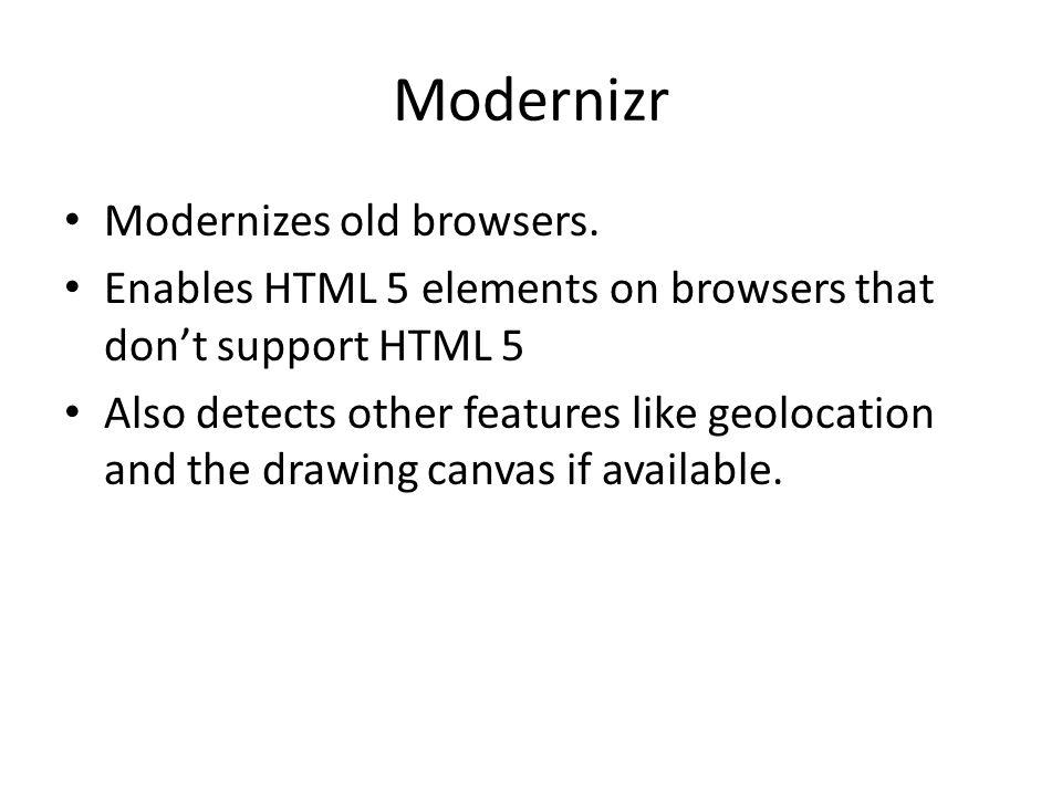 Modernizr Modernizes old browsers.