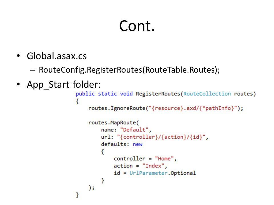 Cont. Global.asax.cs App_Start folder: