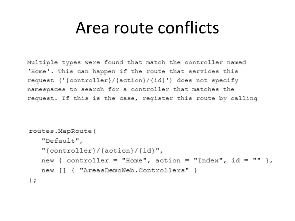 Area route conflicts