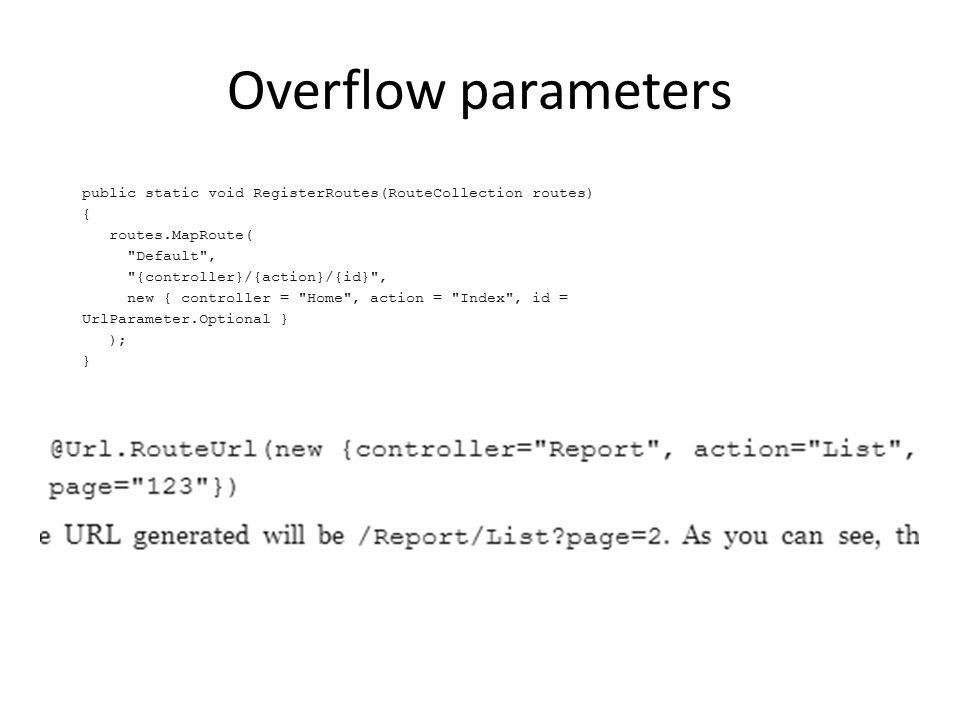 Overflow parameters