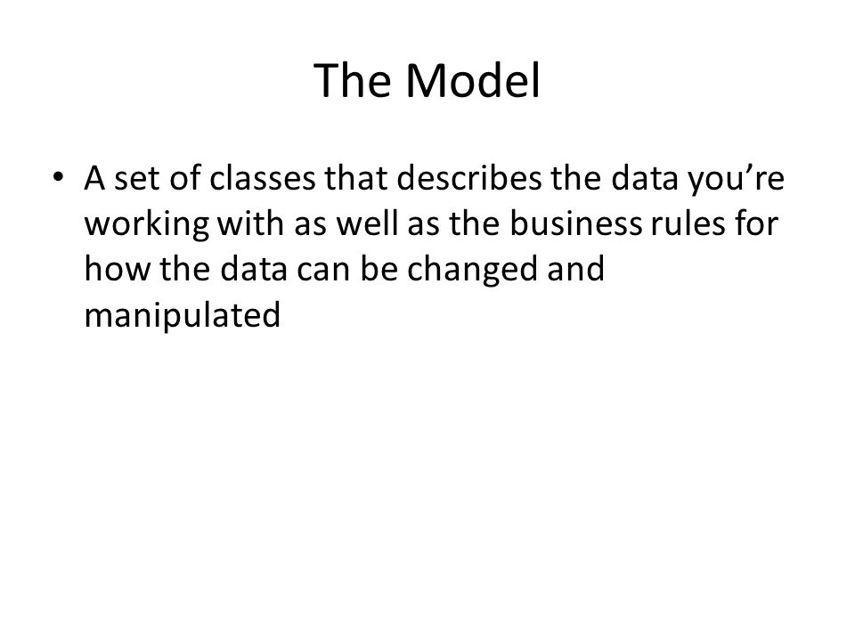 The Model A set of classes that describes the data you're working with as well as the business rules for how the data can be changed and manipulated.