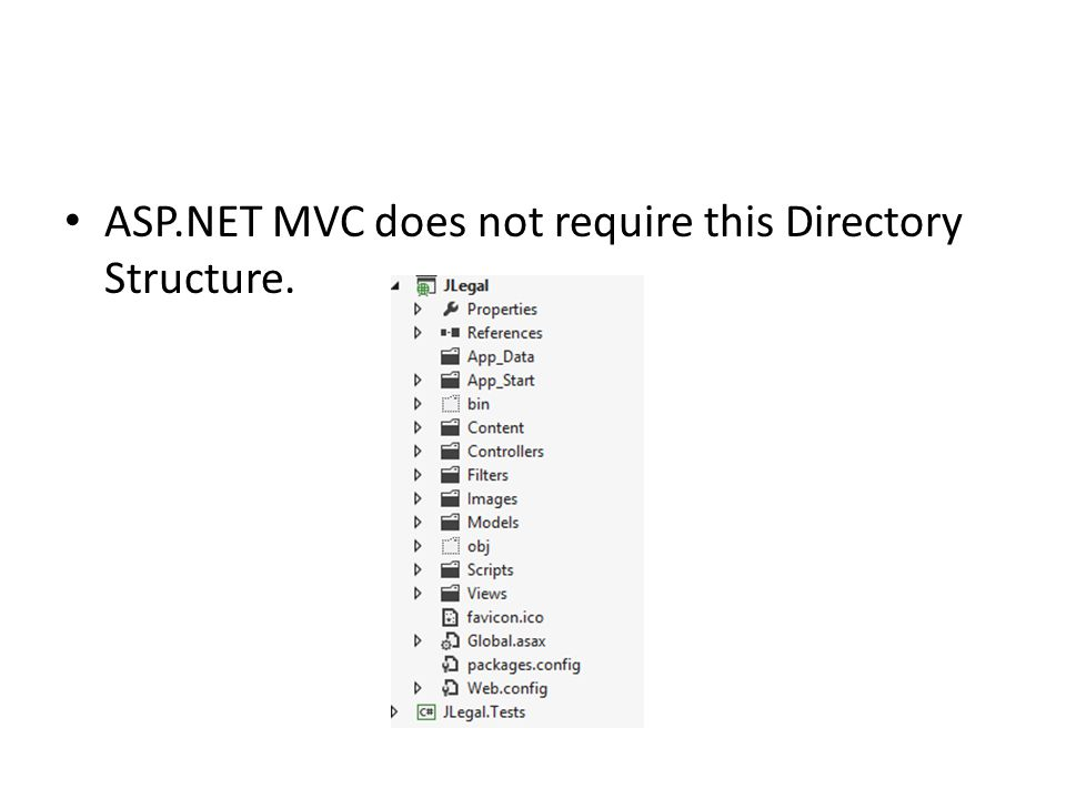 ASP.NET MVC does not require this Directory Structure.