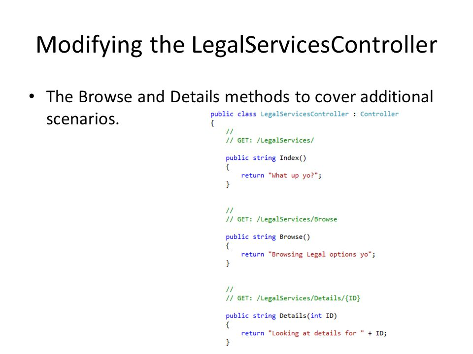 Modifying the LegalServicesController