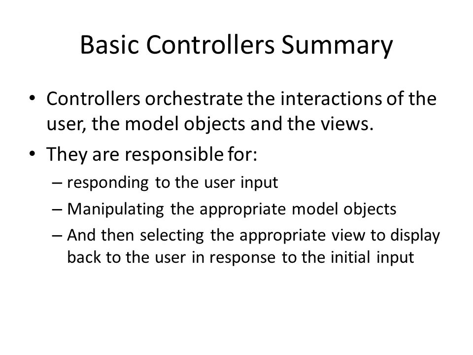 Basic Controllers Summary