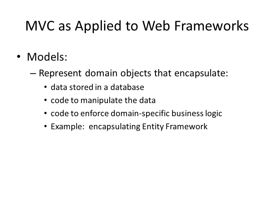 MVC as Applied to Web Frameworks