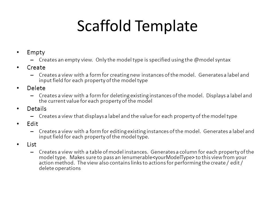 Scaffold Template Empty Create Delete Details Edit List