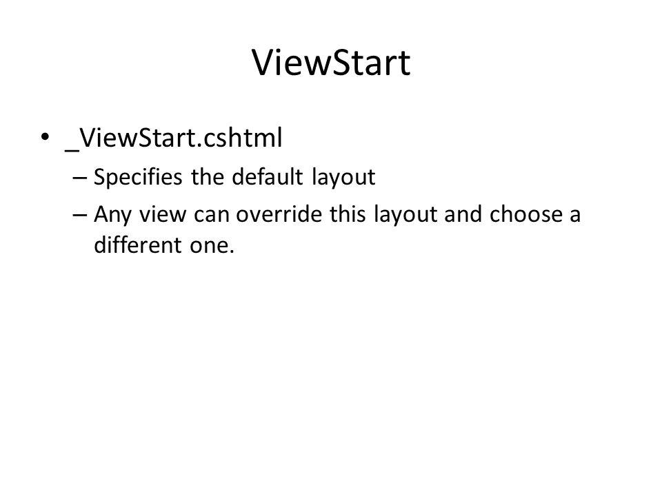 ViewStart _ViewStart.cshtml Specifies the default layout