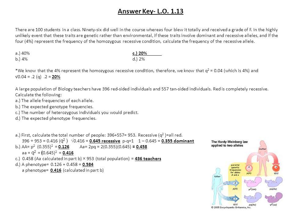 Answer Key- L.O. 1.13