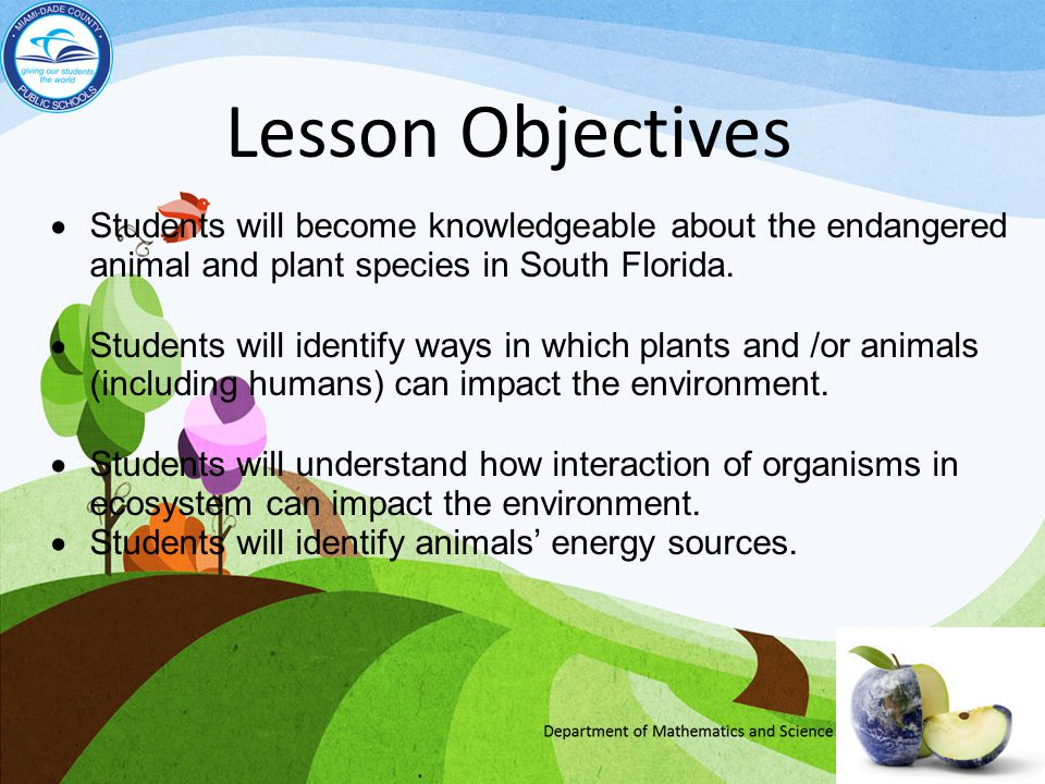 Lesson Objectives Students will become knowledgeable about the endangered animal and plant species in South Florida.